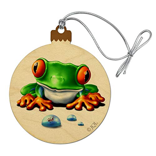 (GRAPHICS & MORE Rainforest Red Eyed Tree Frog and Ant Wood Christmas Tree Holiday Ornament)
