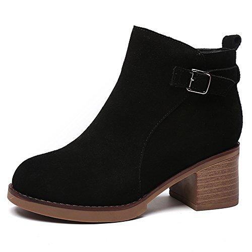 sexy Women's Boots Winter Nubuck Chunky Heel Black Khaki Short Boots British Style Outdoor (Color : Black - thin, Size : EU35/UK3/CN34) Black - Thin