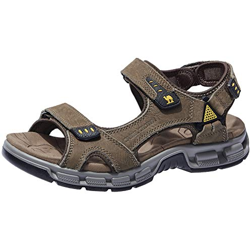 CAMEL CROWN Men's Sandals Summer Leather Open Toe Sandals Casual Strap Fisherman Sandals for Outdoor Hiking Walking Beach (11 US, ()