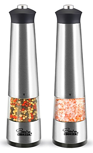 Electric Salt and Pepper Grinder Set   Battery powered   Stainless Steel (Pack of 2 electronic mills)   Adjustable Coarseness   Easy one hand use for children and elders   Lights and Caps