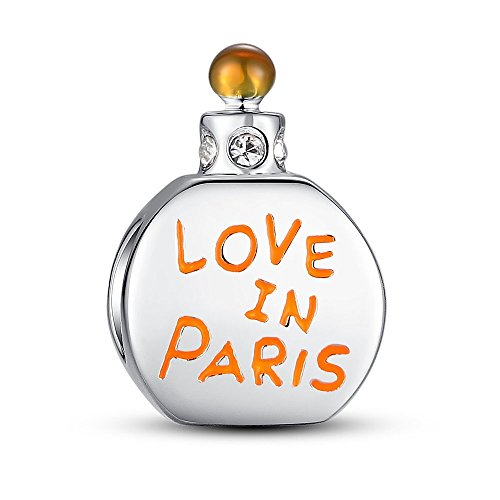 (Glamulet Love in Paris Perfume Bottle Charms 925 Sterling Silver Beads Fits for Bracelet Ideal Jewelry Gifts for Women)