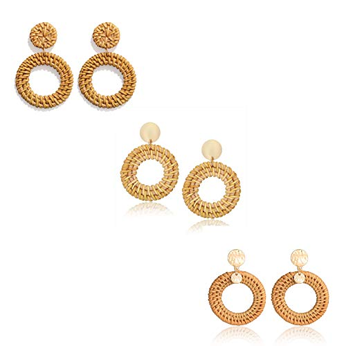 YAHPERN LPON Rattan Earrings for Women Girls Handmade Lightweight Wicker Straw Stud Earrings Statement Weaving Braid Drop Dangle Earring (3pair)