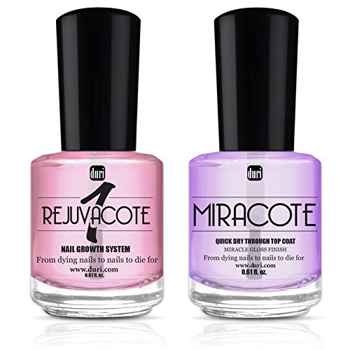 duri Rejuvacote 1 Original Maximum Strength Nail Growth System Base, Top Coat and Miracote Quick Dry Top Coat Combo