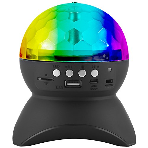 Disco Stage Light, PEMOTech Magic Ball Stage Lamp,RGB Color Chang LED Crystal Ball Auto Rotating Party Light with USB, TF Card Port, Aux Input, Music Player,Wireless Bluetooth Speaker Gift for (Led Crystal Ball)