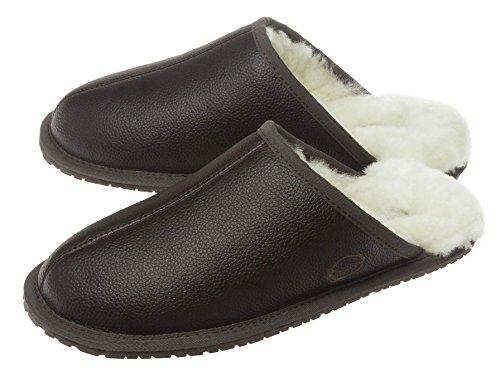 SHEPHY Chesser Merino Sheepskin & Genuine Leather Men's Mule Slippers Brown