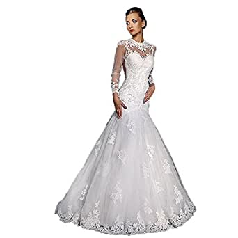 Banfvting White Long Sleeves Mermaid Wedding Gown Lace Bridal Dress with Train