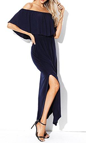 I2CRAZY Women Loose Fit Side Split Off The Shoulder Party Dress with Pockets(Size-L,NavyBlue) by I2CRAZY (Image #3)