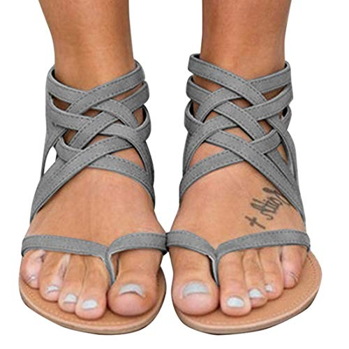 Strappy Sandals - Xiakolaka Womens Strappy Sandals Flat Gladiator Cross Strap Thong Toe Shoes