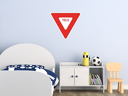 Street & Traffic Sign Wall Decals - Red Yield Sign - 12 inch Removable Graphic