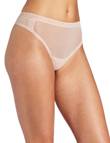 - OnGossamer Women's Mesh Hi Cut Panty Thong, Champagne, Medium/Large