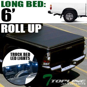 Topline Autopart Lock & Roll Up Soft Vinyl Tonneau Cover & Truck Bed LED Lighting System For 95-04 Toyota Tacoma ; 89-94 Pickup Regular (Standard) / Access (Extended) Cab 6 Feet (72