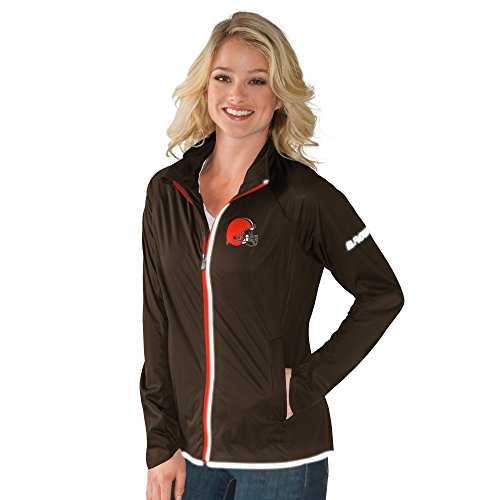 NFL Cleveland Browns Women's Batter Light Weight Full Zip Jacket, X-Large, Brown