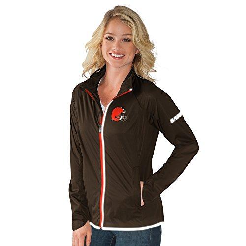 NFL Cleveland Browns Women's Batter Light Weight Full Zip Jacket, Small, Brown