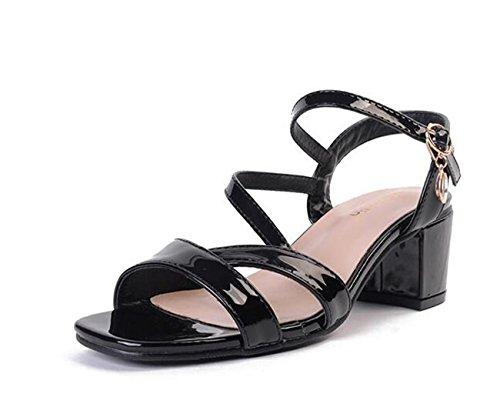 Beauqueen OL BLK Mujer Chunky Sandalias Tobillo Corbata Abiertos Abrir Hebilla 35-40 black