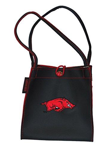Arkansas Razorbacks Alan Stuart Black Leather Style Square Tote Bag Purse - Alan Stuart Purses