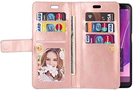 Herbests Kompatibel mit Samsung Galaxy S20 Plus Handyhülle Handytasche mit 9 Kartenfächer Handschlaufe Leder Hülle Reißverschluss Magnet Schutzhülle Multifunktions Tasche Cover Flip Case,Braun