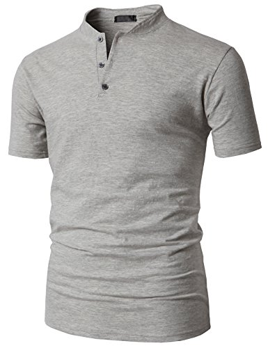 H2H Mens 100% Cotton Baseball Tee Shirts Gray US S/Asia M (KMTTS0563)