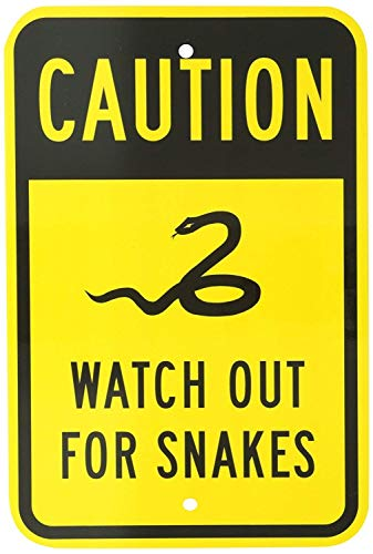 (Jesiceny New Tin Sign Legend Watch Out for Snakes with Graphic, Black on Yellow Aluminum Metal Road Sign Wall Decoration 8x12 INCH)