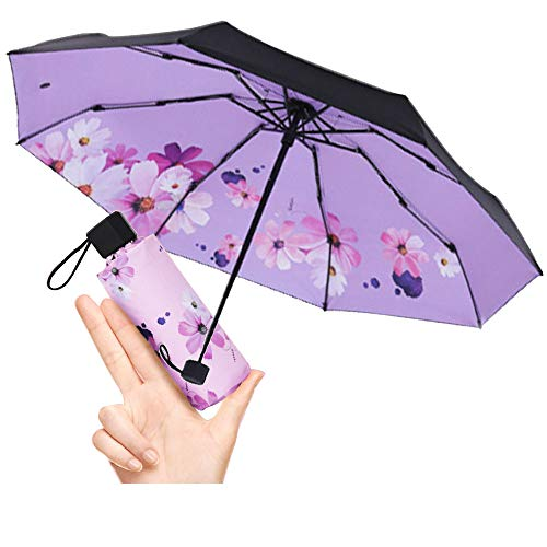 mini Travel sun&rain Umbrella - Light Compact with 95% UV Protection Wedding and personal sunscreens smallest umbrella … (Inside, purple) by moon-1
