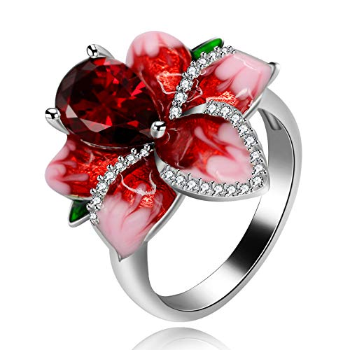 (Uloveido Pear Cut Simulated Ruby Single Bloom Rose Flower Comfort Fit Cocktail Ring Platinum Plated Big Floral Rings Wedding Party Jewelry for Women (Size 6) RA627)