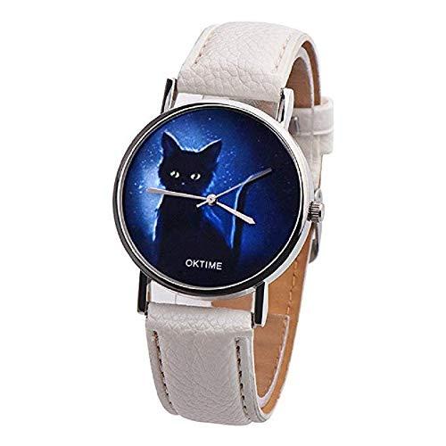 FAVOT 2019 New Creative Women Watch Fashion Mysterious Blue Star Black Cat Classic Leather Band Student Wrist Quartz Watch (White)