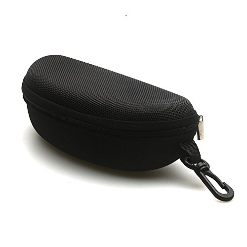 Sunglasses Case and Large Waterproof Eyeglasses Case Hard EVA zipper with Back Pack Clip (black) (Case Sunglasses Eva)