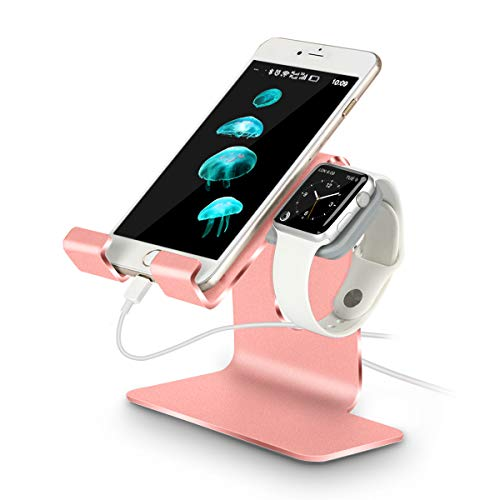 Tranesca Rose Gold Aluminum 2-in-1 Charging Stand for Apple Watch 4/Apple Watch 3/Apple Watch 2/Apple Watch 1(38mm/40mm/42mm/44mm) and iPhone/iPad (Must Have Apple Watch Accessories)