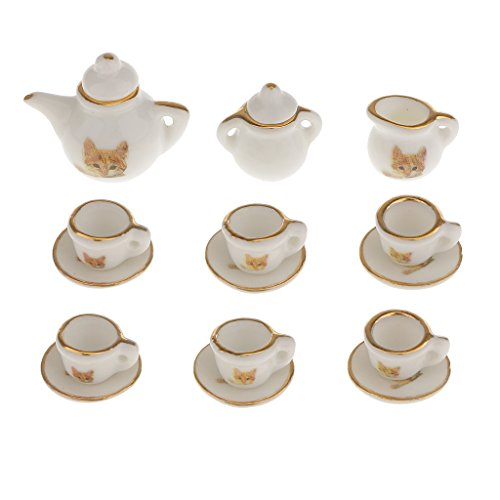 D DOLITY 1:12 Miniature 15pcs Cat Pattern Porcelain Tea Cup Set Dollhouse Kitchen Furniture (Sell China Dishes)