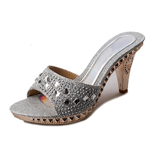 Dress Sandals, Paul Kevin Open Toe Slip-On Rhinestone Jeweled Dress Mules Silver 8 Women ()