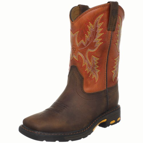 Kids' Workhog Wide Square Toe Western Cowboy Boot, Dark Earth/Brick, 9.5 M US Toddler