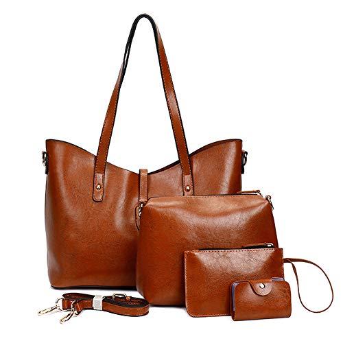 Handbag Sets for Women Large Leather Purse Tote Satchel Hobo Shoulder Bags 4pcs (Brown-2)