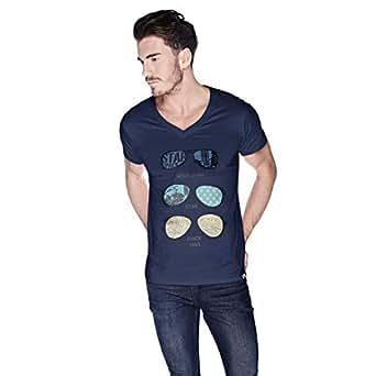 Creo Rock Star Glasses Beach T-Shirt For Men - S, Navy Blue