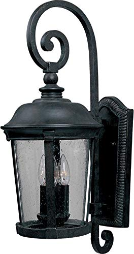 Maxim 3024CDBZ Dover Cast 3-Light Outdoor Wall Lantern, Bronze Finish, Seedy Glass, CA Incandescent Incandescent Bulb , 40W Max., Dry Safety Rating, Standard Dimmable, Fabric Shade Material, Rated Lumens