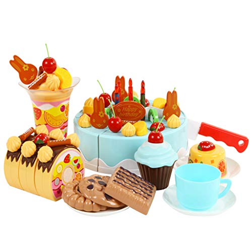 Elaco 75Pcs Birthday Cake Food Cutting Set, Pretend Role Play Food Toy Sets for Children with Fruits and Dessert Candle Kids Plastic Cutting Toy Play Food Sets for Kids Learning from Elaco1