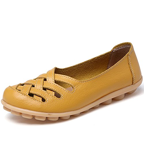 CIOR Women's Genuine Leather Loafers Casual Moccasin Driving Shoes Indoor Flat Slip-on Slippers,M556,Wheat,40