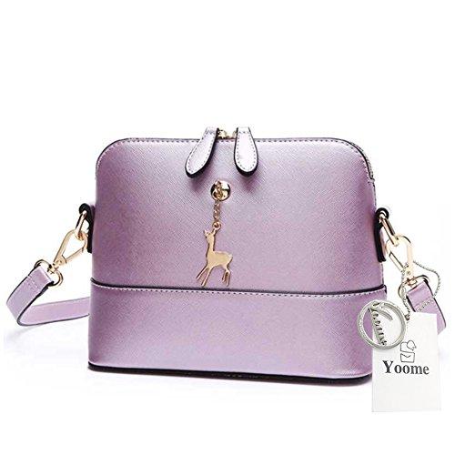 Yoome Cruz Patrón Pequeño Ciervo Colgante Retro Maquillaje Bolsa Bolsa Medio Bolsa De Hombro Cuero - Marina Púrpura perlado