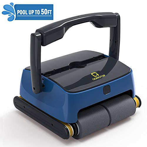 OT QOMOTOP Automatic Robotic Pool Cleaner with Two Large Filter Baskets, Wall-Mounted Pool Cleaner, Provide Powerful Waterline scrubbing Power, Ideal for Underground Pools Below 50 feet