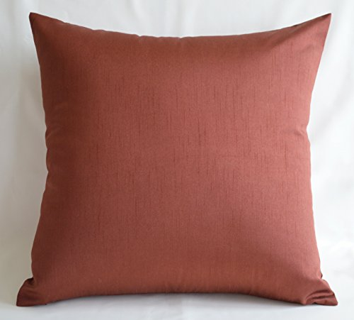 Creative Faux Silk Solid Euro Sham / Throw Pillow Cover 24 by 24 - Terracotta