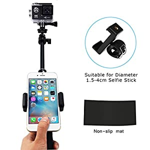 Mystery 2in1 Telescoping Selfie Stick with Tripod Stand for GoPro Hero 6/5/4/3+/3/2/1/Session Cameras,SJCAM AKASO Xiaomi Yi, Compact Cameras and Cell Phones