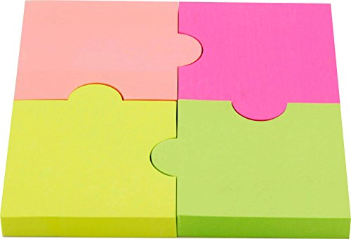 4A Die-cut Sticky Notes, 2 7/8 x 2 4/7-inches,Neon Assorted,100-sheets/pad,4 pads/pack, 4A 5020