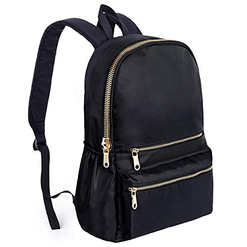 UPGRADED VERSION-UTO Fashion Backpack Waterproof Nylon Rucksack School College Bookbag Shoulder Purse Black