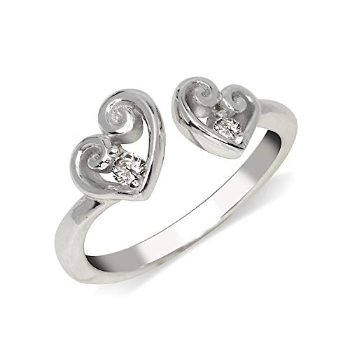 - JewelryWeb Solid 925 Sterling Silver Elegant Adjustable Cubic Zirconia Scroll Heart Toe Ring (7mmx15mm)