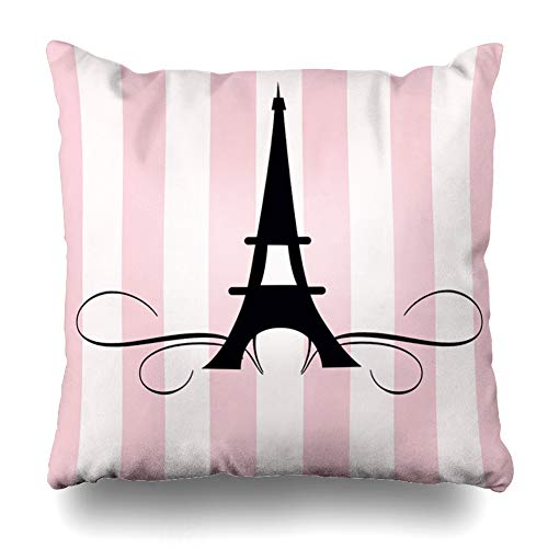 WAYATO Pillow Case Cotton Polyester Blend Throw Pillow Covers Whimsical Paris Eiffel Tower Bridal Shower Chocolate Covered Oreo Bed Home Decor Cushion Cover 18X18 -