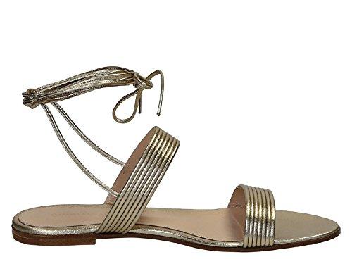 Gianvito Rossi Mujer G0347105CUONPSMEKOSALINA Oro Cuero Sandalias