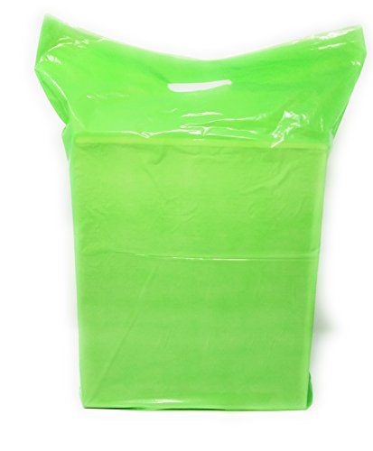 Green Merchandise Plastic Shopping Bags - 100 Pack 15