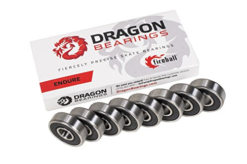 Fireball Dragon Precision Bearings for Skateboards and Inline Skates (ENDURE 8-Pack) Hockey Bearings