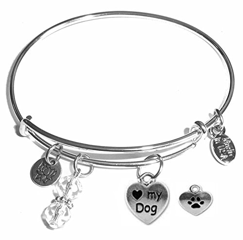 Message Charm (22 words to choose from) Expandable Wire Bangle Bracelet, in the popular style, COMES IN A GIFT BOX! (Love my dog)