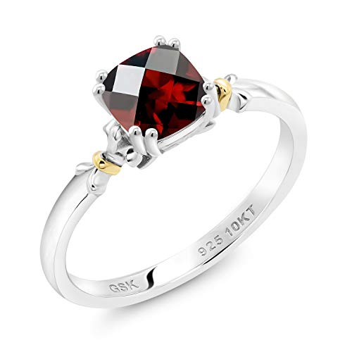 Gem Stone King 925 Silver and 10K Yellow Gold 0.95 Ct Cushion Checkerboard Red Garnet Women Engagement Ring (Size 8)