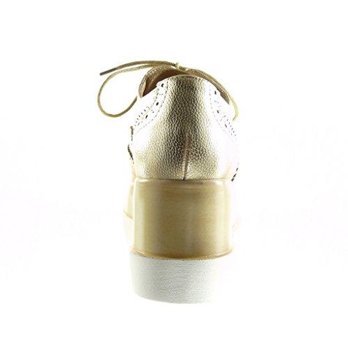 Oro Zapatillas Mujer 7 Zapato Talón Angkorly Plataforma Moda Acento Cm Perforado x7Rqd4wvd