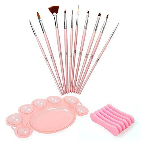 BMC 12 pc Nail Art Beauty Design Polish Brush Dotting Tool Palette Color Mixing Dish Holder Manicure - Brush Nail Art Design